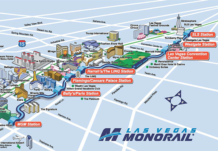 Various Las Vegas Monorails and Trams