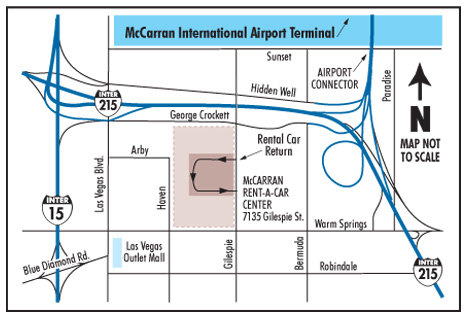 Las vegas mccarran airport rental car map